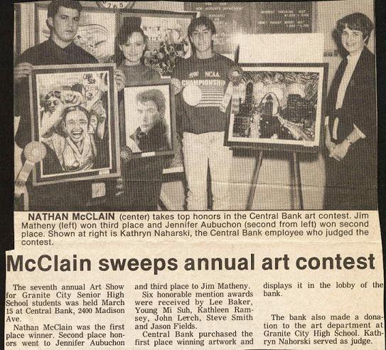 1990 Granite City Press Record article on Central Bank Art Contest
