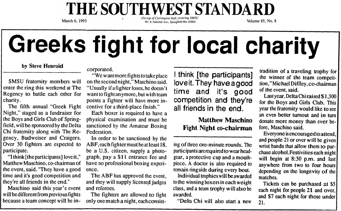 The Southwest Standard article on Greek Fight Night fundraiser March 6, 1993