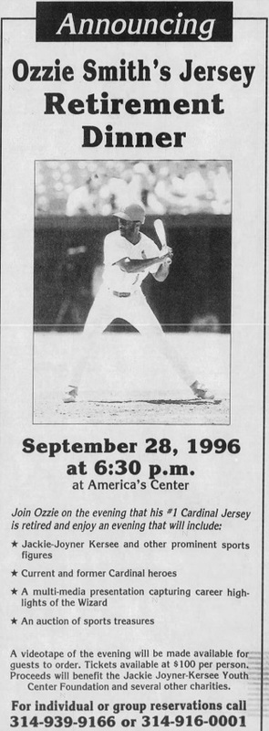 Ozzie Smith Retirement Dinner, St. Louis Post-Dispatch September 1996